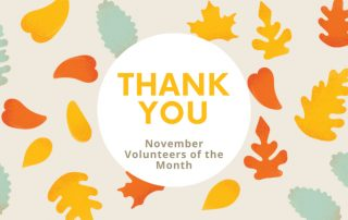 Fall-themed graphic with text reading, Thank You, AMA Cincinnati Volunteers of the Month